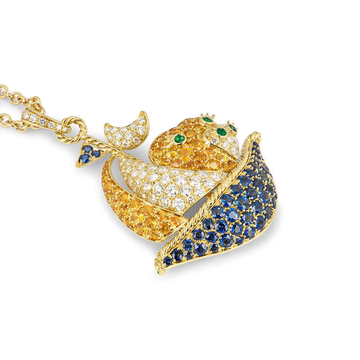 Yellow Gold Multi-Gemstone and Diamond Sailing Boat Pendant